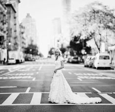 city bride walking across the street