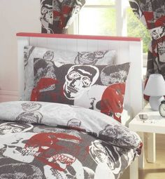 """SKULLS LUXURY FULLY LINED READY MADE BEDROOM CURTAINS SET 66"""" X 72"""" MATCH DUVET Kids Club http://www.amazon.co.uk/dp/B009K7N2AO/ref=cm_sw_r_pi_dp_FYjhub0NVQG87"""