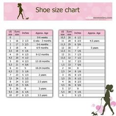 Kids shoe size chart