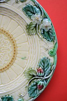 Antique French majolica plate1860-90 strawberries u0026 white blossoms Sarreguemines & Pair Antique Palm Fan Butterfly Flower Open Lace Majolica Plates ...
