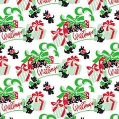 Vintage Scottie dogs Christmas gift wrap / wrapping paper.