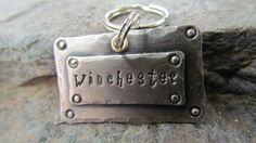 Pet Tag  Classic Two Piece Nickel Silver by themadstampers on Etsy, $8.00