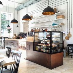 In coffee we trust cafe interior design, cafe design, bakery shop design, bakery Small Coffee Shop, Coffee Shop Bar, Coffee Coffee, Coffee Shops, Cute Coffee Shop, Coffee Beans, Roasters Coffee, Coffee Maker, Coffee Enema