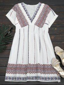 Tassels Embroidered Shift Dress