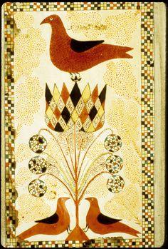 Fraktur - Drawing of three birds, 1800-1820
