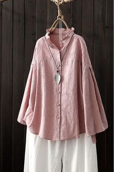 Loose Button Down Pu Loose Button Down Pure Color Shirt Women Casual Spring Tops Stand Collar Shirt, Collar Shirts, Spring Outfits Women, Spring Dresses, Casual Tops For Women, Spring Tops, Mode Hijab, Active Wear For Women, Long Sleeve Shirts