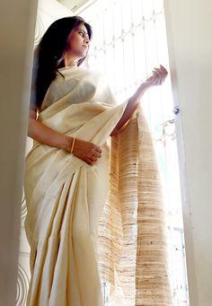 Cream Tusser Silk with Gitcha pallu.
