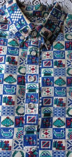 7bf6c19f49b34 Men's S Tori Richard Liberty House Vintage Hawaiian Christmas Shirt Half  button #ToriRichard #Hawaiian