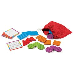 Learning Essentials™ Teaching Tac-Tiles™   Colorful, engaging pieces with rich textures (smooth, bumpy, ridged, and rough) provide a great way to engage a child's sense and strengthen fine motor skills. Reach into the bag to find two matching shapes or textures only by touch, or follow the Activity Cards. Learn shape identification while building vocabulary and early math skills.