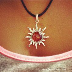 Sterling Silver Baltic Amber Sun Pendant