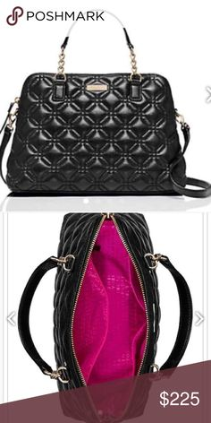 LARGE KATE SPADE QUILTED ASTON ASTOR COURT ELENA HANDBAG. Pebble leather with a shimmer finish and matching trim. Capital kate kaquard lining. 14 kt gold plated hardware. Over the shoulder bag with fold over turn lock closure. Center zip dividing pocket with side double slide and zip pocket. Imported. kate spade Bags Shoulder Bags