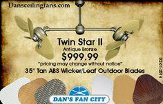 "Twin Star II Antique Bronze Dual Ceiling Fan with 35"" Tan ABS Wicker/Leaf Outdoor Blades"
