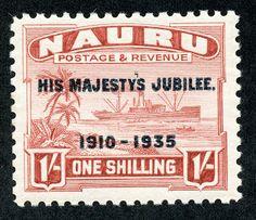 Nauru  1935 Scott 34 1sh brown red, glazed paper 25th anniversary of the reign of George V