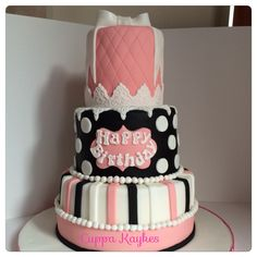 Three tier birthday cake. Quilting, pink and bows