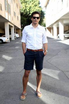 casual, simple and nice, wayfarer sunglasses, white shirt, brown belt and dark blue short pant