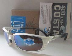 COSTA DEL MAR matte crystal/green mirror BRINE POLARIZED 400G sunglasses NEW!