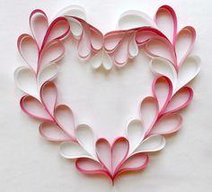 Valentine paper heart wreath.