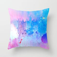 Buy Abstract Candy Glitch - Pink, Blue and Ultra violet #abstractart #glitch Throw Pillow by Dominique Vari. A modern, fresh and colourful play with candy colours, textures, glitches and geometry - Perfect contemporary art to energise your home on home decor, pillows and much more. Pink, blue and ultra violet colour palette for a positive and uplifting urban graffiti look. Unique Generative art now ready for you!