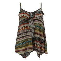 Daytrip Print Tank Top (€10) ❤ liked on Polyvore featuring tops, shirts, tank tops, tanks, olive brown rust mustard, daytrip shirt, brown tank top, olive green shirts, frilly shirt and mustard shirt