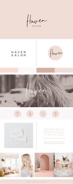 Haven Salon Emily Wells Design | Brand Design for Creative Entrepreneurs | Feminine Brand Design | Pink Logo | Blush Logo | Hair Salon Logo |