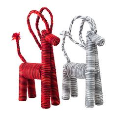 Ikea, yarn wrapped goats.  You could pretend they were reindeer.  These would look so cute on the Fireplace hearth.