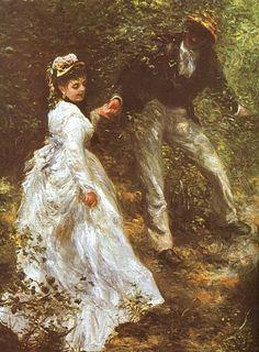 La Promande - Renoir. I love how he paints gentlemen scenes.