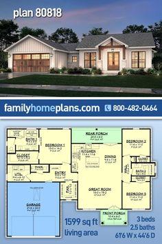 Small House Floor Plans, New House Plans, Dream House Plans, Texas House Plans, Texas Farmhouse, Farmhouse Plans, Craftsman Farmhouse, Porch Storage, Large Baths