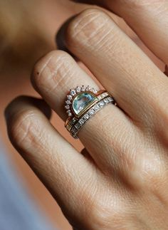 Half Moon Aquamarine Ring | MinimalVS on Etsy