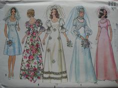 70s EMPIRE WAIST BRIDAL GOWNS PATTERN SIMPLICITY 5462 - VIEW 1 MY WEDDING GOWN!