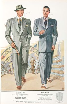 Model No. 707. Young mens two-button drape or lounge style; Model No. 708. Young mens three-button drape or lounge sty...