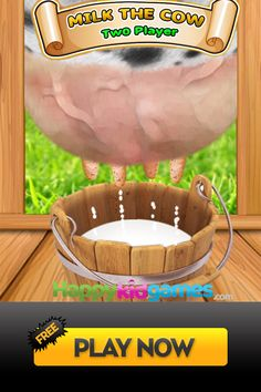 How many seconds can you milking four buckets? More than 50 million played on the most popular game sites and mobile platforms, Milk The Cow game, Html5 Version with you. Have fun. #kids #2player #games #cow #game Milk The Cow, Most Popular Games, Player 1, Buckets, Platforms, Fun, Kids, Young Children, Boys