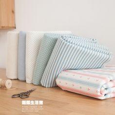 棉麻 窗帘靠垫桌布用 海洋风系列 条纹水玉海锚布组(6块入)