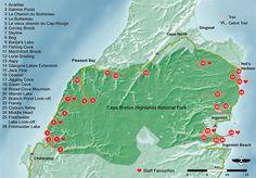 Hiking Trail Map for Cape Breton Highlands National Park Cabot Trail, Hiking Trail Maps, Hiking Trails, Glasgow, Parks Canada, Cape Breton, Prince Edward Island, New Brunswick, Nova Scotia