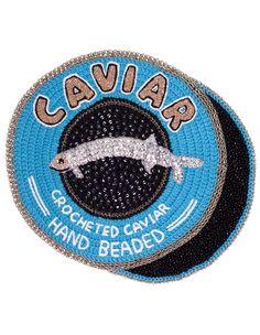 Crocheted caviar (blue lid) by Kate Jenkins