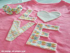 mis nancys, mis peques y yo, tutorial aplique en camiseta love, dos camiseta terminada detalle