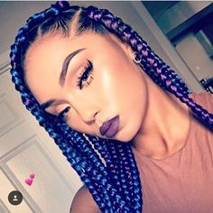 Blue and purple box braids <3