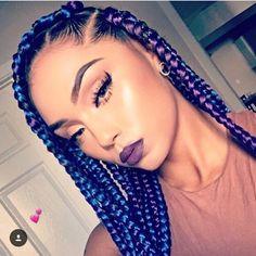 Blue and purple box braids <3