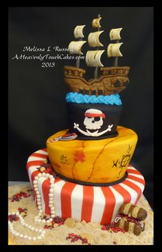 Pirate Ship Cake Topper Fondant Edible by AHeavenlyTouchCakes, $49.00