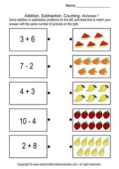 addition, subtraction, counting worksheet