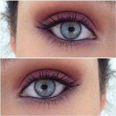 Ice blue-green eyes with pink shadow & a slim line of black liner with mascara seem to be all you need.