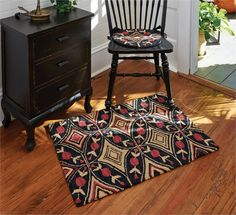 """Aldrich Hooked Rug 24"""" x 36"""", matching chair pads and hooked pillows too... All from CountryPorch.com"""