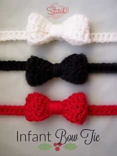 Infant Bow Tie Crochet Pattern Stitches Used CH – Chain Slip Stitch SC – Single Crochet HDC – Half Double Crochet DC – Double Crochet Supplies Medium/worsted weight yarn 5 MM crochet hook Yarn needle Small button (about 1 CM) The Bow Row CH Turn. Crochet Bow Ties, Crochet Bow Pattern, Bonnet Crochet, Crochet Beanie, Knit Headband Pattern, Crochet Headbands, Crochet Ideas, Crochet Crafts, Double Crochet