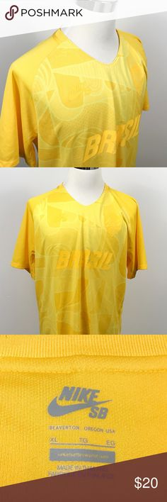 Nike SB Mens XL Skateboarding Brasil Yellow Tee Nike SB Mens XL Skateboarding Brasil Brazil Yellow Geometric Athletic T Shirt    Measurements (inches): Pit to Pit (across the chest): 24 Length (top of collar to hem): 30.5  Condition:  This item is in good pre-owned condition! Free from rips & stains.  All items come from a smoke/ pet free environment. Nike Shirts Tees - Short Sleeve