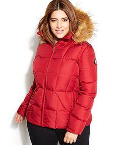 Calvin Klein Plus Size Faux-Fur-Trim Hooded Puffer Down Coat
