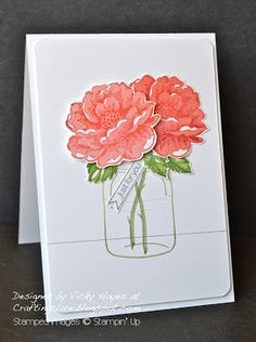 Stampin' Up ideas and supplies from Vicky at Crafting Clare's Paper Moments: Stippled Blossoms in a jar