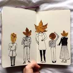 Bullet journal drawing, leaf art, bullet journal art idea. @notebook_therapy