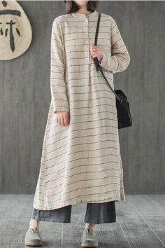 Loose Striped Linen Maxi Dresses Women Spring Casual Clothes is part of Linen maxi dress - Hijab Fashion Casual, Casual Hijab Outfit, Modest Fashion, Casual Wear, Casual Outfits, Fashion Outfits, Casual Clothes, Casual Boots, Men Casual