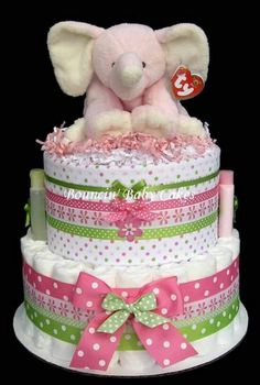This Beautiful 2 Tier Pink Elephant Diaper Cake would make a great Baby Shower Centerpiece and\/or welcome home baby gift for expecting parents. Baby Shower Diapers, Baby Shower Cakes, Baby Shower Gifts, Baby Gifts, Shower Bebe, Girl Shower, Baby Girl Cakes, Cake Baby, Elephant Diaper Cakes