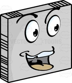 Smiley Face Emoticon, Open Mouth With Chipped Upper Tooth, Red Tongue Exposed Looking Right On Grey Square Metal Plate Tilted Right #cheerful #computer #content #emotion #expression #eyebrows #eyes #face #feeling #friendly #happy #icon #joyful #mood #mouth #PDF #smiley #smiling #teeth #vector-graphics #vectors #vectortoons #vectortoons.com