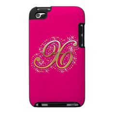 Gold & Diamonds - Pink and Cute iPod Touch Case with Your Initial ''X''.